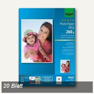 """Sigel Fotopapier """"Ultra"""", DIN A4, hochglänzend, 260g/m², 20 Blatt, IP677"""
