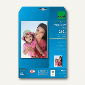 "Sigel Fotopapier ""Ultra"", DIN A4, seidenmatt, 260g/m², 20 Blatt, IP672"