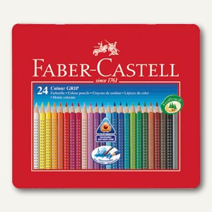 Faber-Castell Farbstift Colour GRIP 2001, 24er Metall-Etui, sortiert, 112423