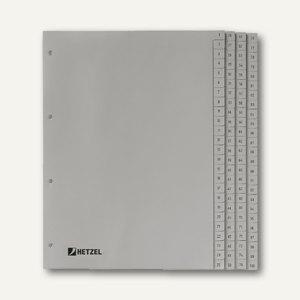 "Hetzel Zahlenregister ""1-100"", DIN A4, PP, grau, 100-tlg., 721311"