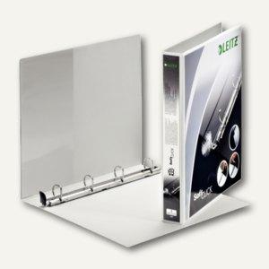 LEITZ Ringbuch Soft-Click A4, 4- Ringe-Ø 20mm, 2 Außentaschen, weiß, 4200-00-01