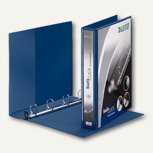 LEITZ Ringbuch Soft-Click A4, 4- Ringe-Ø 30mm, 2 Außentaschen, blau, 4202-00-35