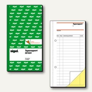 Sigel Formular Tagesrapport, 105x200 mm, weiß/gelb, 2x40 Blatt, SD024