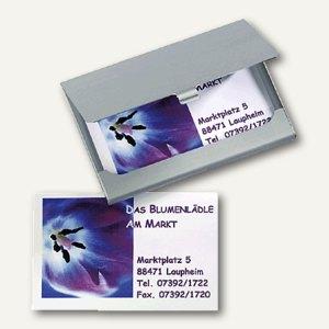 Sigel Visitenkartenbox aus Aluminium, silber, matt, für 15 Visitenkarten, VZ135