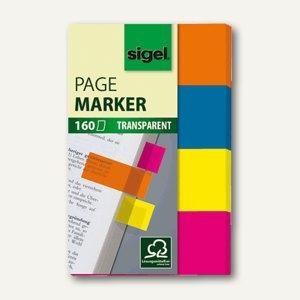 Sigel Haftmarker Film, 20 x 50 mm, 4 Farben im Pocketspender, 4x40 Blatt, HN614