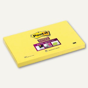 Post-it Notes Super Sticky, gelb, 127 x 76 mm, Block á 90 Blatt, 655-S