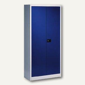 C+P Stahlflügeltürenschrank, 195 x 93 x 40 cm, lichtgrau/blau, 9260-000