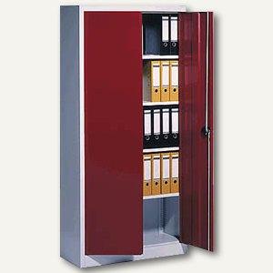 C+P Stahlflügeltürenschrank, 195 x 93 x 50 cm, lichtgrau/rot, 9280-000