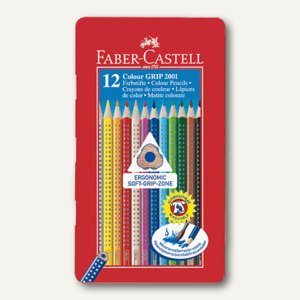 Faber-Castell Farbstift Colour GRIP 2001, 12er Metall-Etui, sortiert, 112413