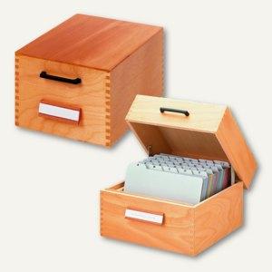 Artikelbild: Karteikästen aus Holz mit Metallstützplatte