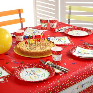 Artikelbild: Einweg-Motiv-Geschirr/Becher/Tischdecken/Servietten Happy Birthday