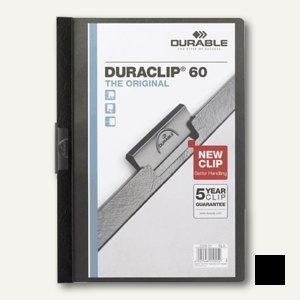 Durable Klemm-Mappe, DIN A4, bis 60 Blatt, schwarz, 2209-01