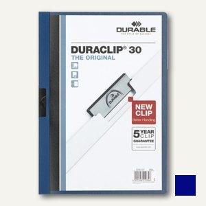 Durable Klemm-Mappe DURACLIP, DIN A4, bis 30 Blatt, dunkelblau, 2200-07