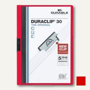 Durable Klemm-Mappe DURACLIP, DIN A4, bis 30 Blatt, rot, 2200-03