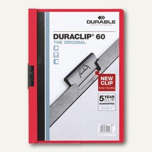 Durable Klemm-Mappe DIN A4, bis 60 Blatt, rot, 2209-03