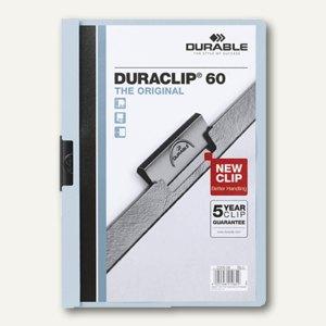 Durable Klemm-Mappe DIN A4, bis 60 Blatt, hellblau, 2209-06