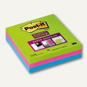 Haftnotizen Super Sticky, 100 x 100 mm, liniert, mehrfarbig, 3 x 70 Blatt
