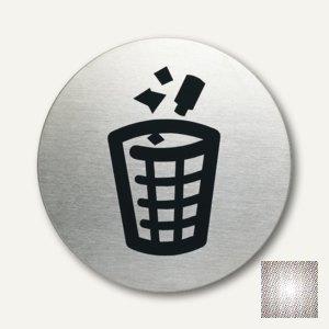 Edelstahl-Piktogramm Mülleimer