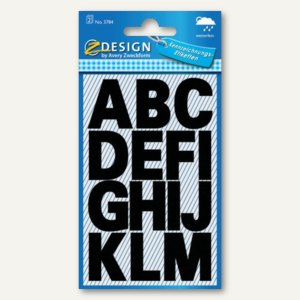 Zweckform Buchstabenetiketten A-Z, Schrifthöhe: 25 mm, wetterfest, schwarz, 3784