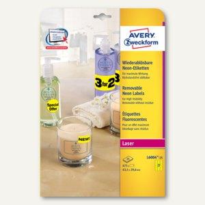 Zweckform Neon-Etiketten, wiederablösbar, 63.5 x 29.6 mm, gelb, 675 St.,L6004-25