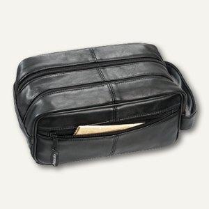Alassio Kulturtasche, echt Leder, 25x13x10 cm, schwarz, 44000