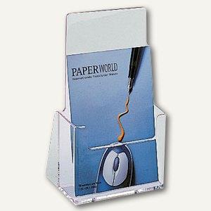 Helit Prospekt-Tischaufsteller, 1 Fach DIN lang, glasklar, 1 Stück, 23510-02