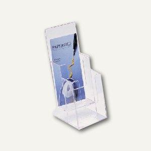 Helit Prospekt-Tischaufsteller, 2 Fächer DIN lang, glasklar, 4er-Pack, 23515-02