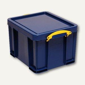 Aufbewahrungsbox - 35 Liter, 480 x 390 x 310 mm, Deckel & Griffe, PP, blau, 35B