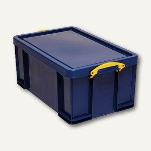 Aufbewahrungsbox - 64 Liter, 710 x 440 x 310 mm, Deckel & Griffe, PP, blau, 64B