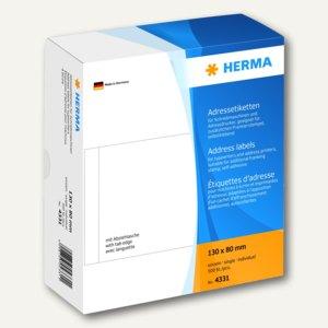 Herma Adressetiketten, einzeln, 130x80mm, weiß, 500 St., 4331