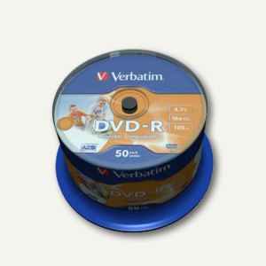 Verbatim DVD-R, 4,7 GB, 16x, wide photo printable, Spindel, 50 Stück, 43533