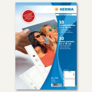 Herma Fotophan-Sichthüllen, 13 x 18 cm quer, weiß, 10 Hüllen, 7587