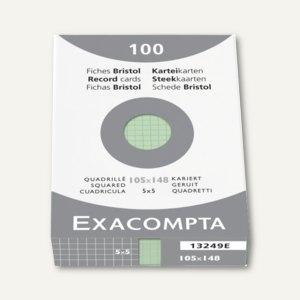 Exacompta Karteikarten DIN A6, kariert, grün, 100er Pack, 13249