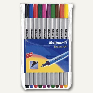 Pelikan Fineliner 96 EF, 0.4 mm, stabile Spitze, 10er-Etui mit 10 Farben, 940676
