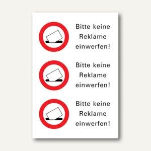 """Herma Hinweisetiketten, """"Bitte keine Reklame einwerfen"""", wetterf., 3 Stück, 5738"""