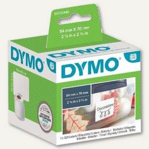 Dymo Mehrzweck-Etiketten groß, permanent, 54 x 70 mm, weiß, 320 Stück, S0722440