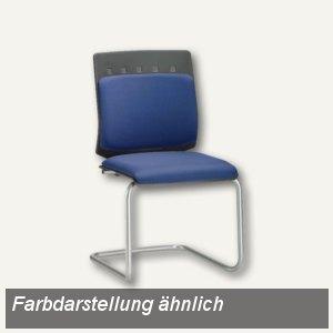 Besucherstuhl C501, graue Kunststoffrückenschale, Polster-Bezug blau, C501NO02