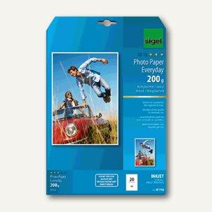 """Sigel Fotopapier """"Everyday"""", DIN A4, hochglänzend, 200g/m², weiß, 20 St., IP710"""
