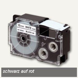 Casio Beschriftungsband 18 mm/8 m, schwarz auf rot, XR-18RD