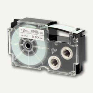 Casio Beschriftungsband 12 mm/8 m, schwarz auf weiß, XR-12WE