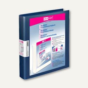 Präsentationsringbücher VELODUR, DIN A4, 2 D-Ringe Ø 25 mm, blau, 10 Stück, 1143
