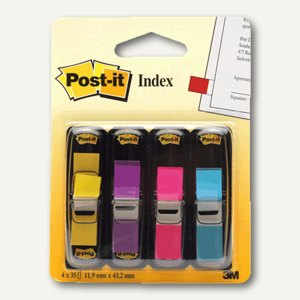 Post-it Index Mini - 12.7 x 43.7 mm, lemon/lila/pink/türkis, 683-4AB
