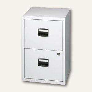 Büroschubladenschrank, 2 HR-Schübe, H672xB413xT400mm lichtgrau