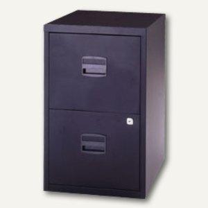 Büroschubladenschrank, 2 HR-Schübe, H672xB413xT400 mm, schwarz