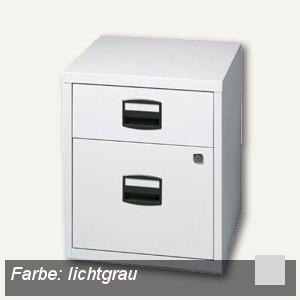 Büroschubladenschrank, 1 Material-, 1 HR-Schub, Rollen, grau