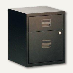 Büroschubladenschrank, 1 Material-, 1 HR-Schub, Rollen, schwarz