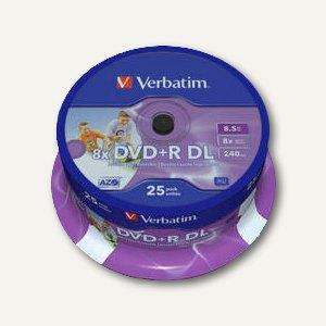 DVD+R Rohlinge Double Layer, 8.5 GB, 8x Speed, bedruckbar, 25er Spindel, 43667