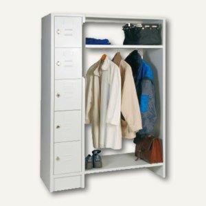 officio Stahl-Garderobe, 5-türig, 2 Böden, 180x50x122 cm, lichtgrau, 905SZ0101