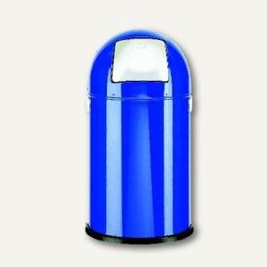 Alco Abfallsammler, 20 Liter, Push-Klappe verchromt, blau, 2900-15