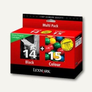 Lexmark Tintenpatronen Nr. 14 + 15 Kombipack, schwarz + farbig, 80D2979